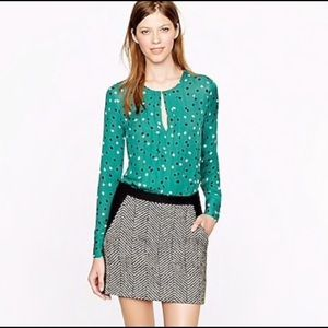 J.crew pleated silk blouse in abstract dot